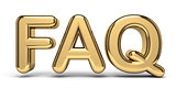 FAQ golden text 3D rendering illustration on white background