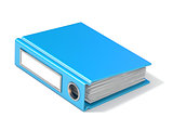 Blank blue ring binder 3D rendering illustration on white backgr