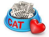 Cat food bowl and red heart 3D rendering illustration on white b