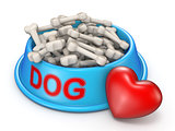 Dog food bowl and red heart 3D rendering illustration on white b