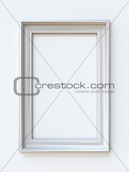 White picture frame rectangular 3D rendering illustration