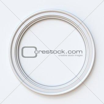 White picture frame circular 3D rendering illustration on white