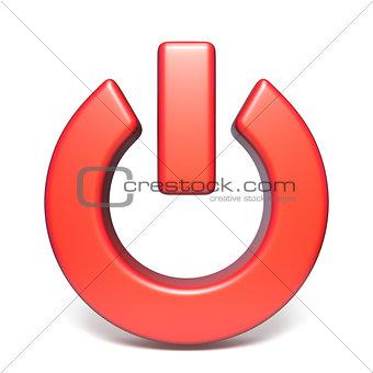 Red power sign 3D rendering illustration on white background