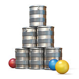 Tin cans and three balls 3D rendering illustration on white back