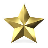 Golden star 3D rendering illustration on white background