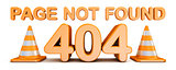 Page not found 404 error and traffic cones 3D