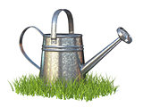 Watering can on grass 3D rendering illustration on white backgro