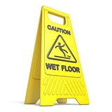 Yellow caution slippery wet floor sign 3D