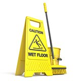 Yellow wet floor sign, bucket and mop 3D
