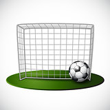 Ball on soccer goalpost with net background.