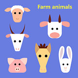 Set of farm animals heads