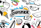 Summer doodles symbol and objects icon elements for beach party