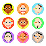 Multiethnic avatars set in flat vector style