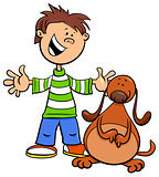 boy with funny dog or puppy cartoon illustration