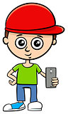 cartoon boy character with smart phone