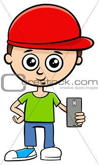 cartoon boy character with smart phone