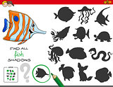 educational shadows game with fish characters