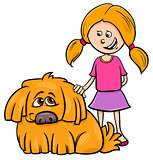 girl with shaggy dog cartoon illustration