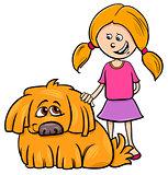 girl with shaggy dog cartoon illustration