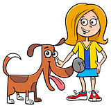 kid girl with funny dog cartoon illustration