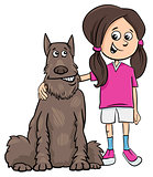 kid girl with dog cartoon illustration