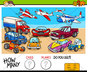 counting cars and planes educational game