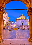 Stradun in Dubrovnik arches and landmarks view at dawn