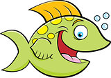 Cartoon Smiling Fish Blowing Bubbles