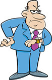 Cartoon Angry Man Looking at His Watch