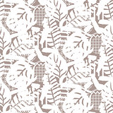 Stylized nature motif background texture. Beige neutral seamless pattern.