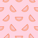Watermelon icon hot pink seamless vector pattern.