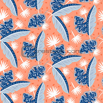 Blue and red tropic island leaves pattern for summer seamless prints.