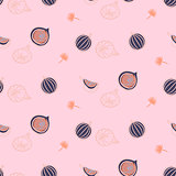 Figs fruit hot pink seamless vector pattern.
