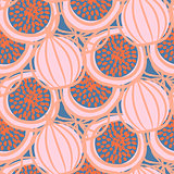 Abstract drawn fig fruit hot pink seamless vector pattern.