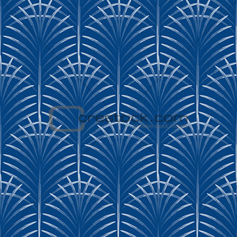 Art deco palm leaves geometry arch blue seamless pattern.
