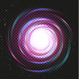 Spiral purple magic galaxy background. Bright swirl purple space on black background. Galaxy storm vector illustration. Universe object, abstract swirl infinity graphic.