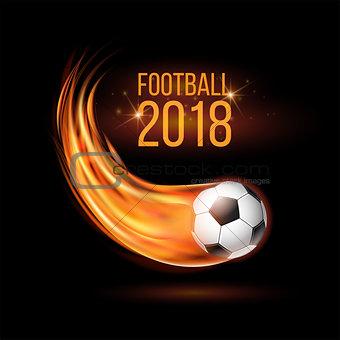 Flying football or soccer ball on fire.