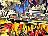 Interpretation of the landscape in style of avant-gardeate