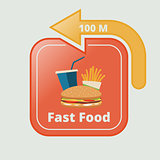 Fast food signboard with arrow
