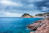 Stormy weather on Tossa de Mar village and Castle.