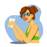Vector creative cartoon illustration. Cute young woman drinks soda, cocktail or milkshake at the beach bar. Girl in glasses.