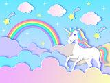 unicorn, clouds,rainbow and stars