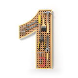 Number 1 one Alphabet from the tools on the metal pegboard isola