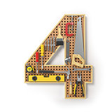 Number 4 four. Alphabet from the tools on the metal pegboard iso