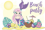 Sea Ocean Tropical Summer Vector Colorful Illustration BEACH PARTY