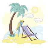 Sea Ocean Tropical Summer Vector Colorful Illustration BEACH