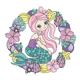Sea Ocean Tropical Summer Vector Colorful Illustration MERMAID FRUITS