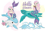 Sea Ocean Tropical Summer Vector Colorful Illustration MERMAID TURTLE