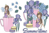 Flower Clipart SUMMERTIME Color Vector Illustration for printable and scrapbooking