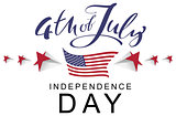 4 the July Independence Day. Handwritten calligraphy text usa greeting card